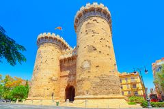 Towers of Quart Torres de Quart is one of the twelve gates ,of. Towers of Quart Torres de Quart is one of the twelve gates that formed part of the ancient city Stock Photos