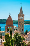 Towers on the Rab Cathedral and Church of St. Justina Stock Image