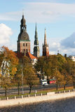 Towers of Riga. Towers of Old  Town (Riga, Latvie) in autumn. View from Daugava river Stock Photo