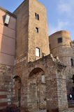 Towers and Roman aqueduct. Towers of the Roman wall and the start of the aqueduct. Barcelona Stock Photography