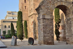 Towers and Roman aqueduct. Towers of the Roman wall and the start of the aqueduct. Barcelona Royalty Free Stock Photos