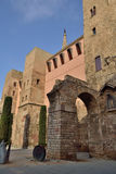 Towers of the Roman wall. Towers of the Roman wall and the start of the aqueduct. Barcelona Stock Photos