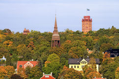 Towers and rooftops in Stockholm. Stock Photo