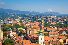 Towers and rooftops of Zagreb Royalty Free Stock Photo