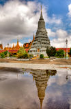 Towers in the royal palace - cambodia (hdr). Tower reflecting in a pond Stock Image