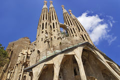 Towers of the Sagrada Familia Cathedral in Barcelona Stock Photos