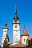 Towers of Saint Nicholas Church in Brasov Royalty Free Stock Photos