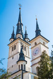 Towers of Saint Nicholas Church in Brasov Stock Photography