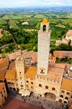 Towers of San Gimignano. Aerial view of the medieval towers of San Gimignano, Tuscany, Italy Stock Image