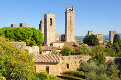 Towers 1 - San Gimignano. Some of the famous tower houses of San Gimignano as seen from the Fortress La Rocca - Tuscany, Italy royalty free stock photos