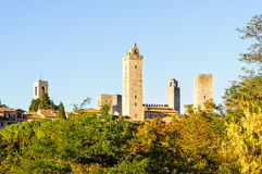 Towers 2 - San Gimignano. Some of the famous tower houses of San Gimignano in autumn - Tuscany, Italy Stock Photos