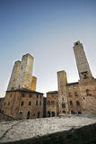 Towers of San Gimignano. From the terrace of the town and the medieval towers of San Gimignano Royalty Free Stock Photos