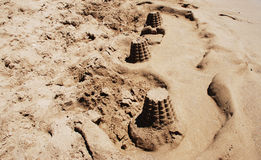 Towers in the Sand. Towers in the sand on the beach Royalty Free Stock Photography
