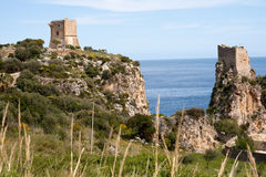 Towers of Scopello, Sicily, Italy Royalty Free Stock Image
