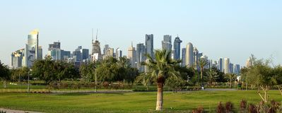 Towers seen from Bidda Park in Doha, Qatar Royalty Free Stock Photo