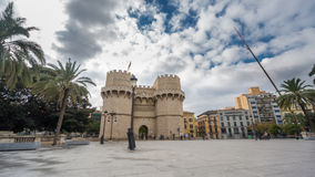 Towers of Serranos Time Lapse in Valencia . Spain. Timlapse with blurred tourists in Towers of Serranos in  Valencia. Spain stock footage