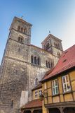 Towers of the Servatius church of Quedlinburg. Germany Stock Photos