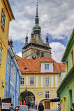 The Towers of Sighisoara, Romania stock photos