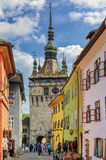 The Towers of Sighisoara, Romania stock images