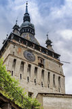 The Towers of Sighisoara, Romania stock photo