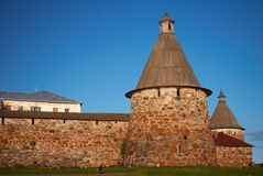 Towers of Solovetsky Monastery Royalty Free Stock Images