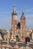 Towers of St. Mary's Basilica on Main Market Square, Krakow, Poland Royalty Free Stock Photography