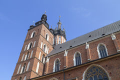 Towers of St. Mary`s Basilica on Main Market Square, Krakow, Poland Royalty Free Stock Photos