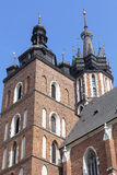 Towers of St. Mary`s Basilica on Main Market Square, Krakow, Poland Royalty Free Stock Image