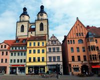 Towers of St. Mary's Church, Wittenberg, Germany 04.12.2016 Royalty Free Stock Images