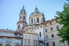 St. Nicolas church in Prague. Towers of the St. Nicolas church in Prague stock photos