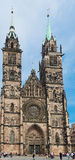 Towers of St. Sebaldus Church in Nuremberg, Germany Royalty Free Stock Image