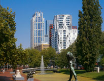 Towers and Statues. Modern towers and statues in Rotterdam City stock photos