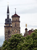 Towers of Stuttgart and chestnut Stock Image