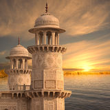 Towers in the sunset. Indian towers near Ganges in the sunset Royalty Free Stock Image