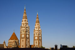 Towers of Szeged Dom cathedral. Two towers of the famous cathedral stock photos