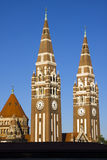 Towers of Szeged Dom cathedral. Two towers of the famous cathedral stock photo