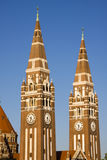 Towers of Szeged Dom cathedral. Two towers of the famous cathedral royalty free stock photography