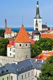 Towers in Tallinn. The roofs of the magical city of Tallinn Royalty Free Stock Photography