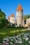 Towers of Tallinn. Estonia. Medieval towers - part of the city wall. Tallinn, Estonia (Focus on the towers Royalty Free Stock Photography