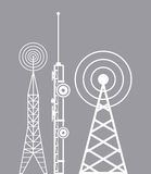 Towers telecommunication television radio. Vector illustration eps 10 Stock Photos