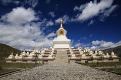 Towers in Tibet. These are typical architecture for Tibetan Buddhism royalty free stock photo