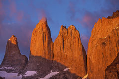 Towers in Torres del Paine National Park, Chile. Towers at sunrise, Torres del Paine National Park, Patagonia, Chile Royalty Free Stock Photo