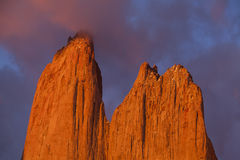 Towers in Torres del Paine National Park, Chile. Towers at sunrise, Torres del Paine National Park, Patagonia, Chile Royalty Free Stock Photos