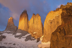 Towers in Torres del Paine National Park, Chile. Towers at sunrise, Torres del Paine National Park, Patagonia, Chile Stock Photo