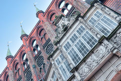 The towers of Town hall, Lübeck Royalty Free Stock Images