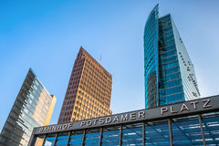 Towers and train station entrance in Potsdamer Platz, Berlin Stock Photos