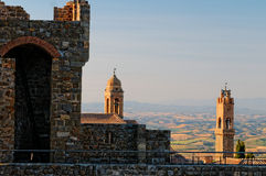 Church towers in Montalcino village Royalty Free Stock Photography