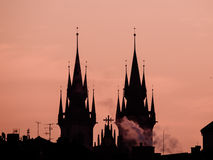Towers of Tyn church silhouette in morning Prague Royalty Free Stock Photo