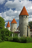 Towers up. Scenic medieval towers in Tallinn, forming an old city wall Stock Photo