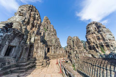 Towers and upper terrace of Prasat Bayon  temple Stock Photography
